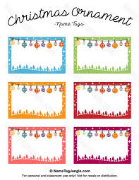 Free printable Christmas ornament name tags. The template can also be used  for creating items