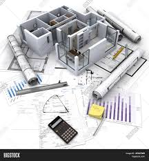 office building blueprints. Office Building With Open Interior On Top Of Blueprints, Documents And Mortgage Calculations Blueprints E