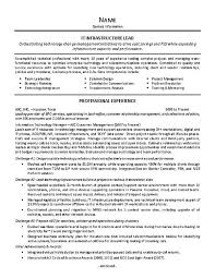 Resume Of Team Leader It Supervisor Resume Example