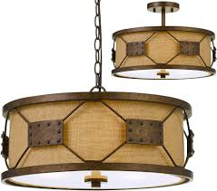 cal fx 3681 3 ragusa contemporary rust drum pendant light fixture flush mount lighting cal fx 3681 3