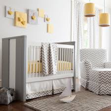 gray and yellow zig zag baby crib bedding