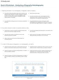 quiz worksheet analyzing a biography autobiography study com print practice analyzing and interpreting a biography autobiography worksheet