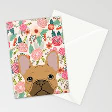 Discover Card Designs Frenchie French Bulldog Florals Portrait Dog Breed Custom Pet Portraits By Pet Friendly Frenchie Stationery Cards By Petfriendly