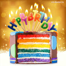 Happy Birthday Rainbow Cake Gif Download On Davno