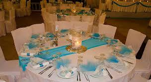 wedding reception table settings. Aqua Table Settings   Blue Ortansia Ste White Roses Jpg Wedding Set Up Reception