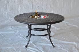 Ice Bucket Table Nassau Cast Aluminum Powder Coated 52 Dining Table With Ice
