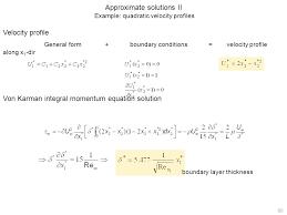 approximate solutions ii example quadratic velocity profiles