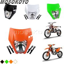 Enduro Lights Us 16 98 11 Off Black Orange Green White Motocross Headlight Enduro Dirt Bike Mx Head Lights For Ktm 450 350 250 Sx F Exc F Xc W On Aliexpress