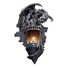 design toscano dragon s castle lair 12 in w 1 light gothic stone novelty pocket