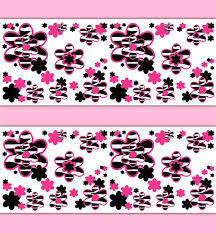 Hot Pink Zebra Animal Print Wallpaper Border Floral Wall Decal