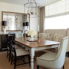farmhouse dining table with wingback settee transitional dining room