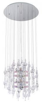 12x25w chandelier w chrome finish dichroic glass crystal strands