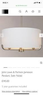 john lewis jamieson pendant light satin nickel including led dimmable bulb