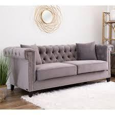 grey velvet tufted sofa. Brilliant Velvet Abbyson Victoria Grey Velvet Tufted Sofa Throughout U