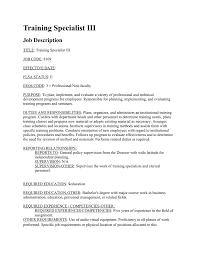 Personnel Management Job Description Training Specialist Iii Job Description