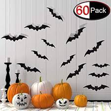 60 Pieces <b>Halloween</b> Bat Cutouts Hanging Bats for Home Decor, <b>3D</b> ...