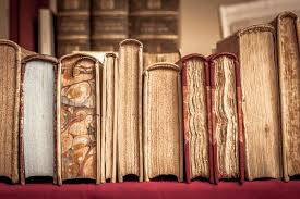 old books lined up