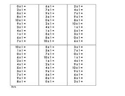 multiplication fact sheet multiplication facts for timed test 0 12 by turtle rific teaching time
