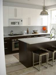 Cushion Flooring Kitchen Black Island Also Cabinetry With White Granite Countertop Also
