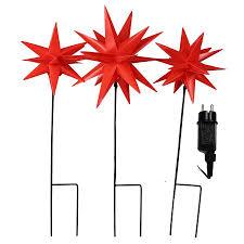Lichterkette Mit 3x Gartenstab Mit Stern Rot Für Weihnachten Außen