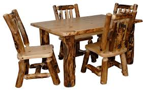 rustic aspen log kitchen table set with 4 dining chairs