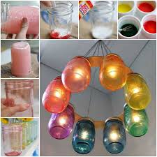 how to make a rainbow mason jar chandelier