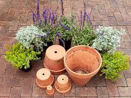 preparing flower pots for planting