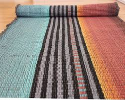 cotton rag rug runner teal and rust throw rug 2 x 6 for hall cotton woven