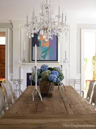 dining room crystal chandelier. Rustic Wood Table And Crystal Chandelier For Dining Room Decorating P