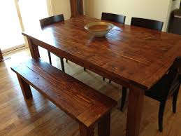 Rustic Furniture Stain Farmhouse Table And Bench Made From Pine 2x6 2x4 And 4x4s