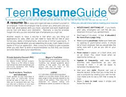 Teenage Resume Builder Resume Cv Cover Letter