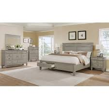 solid wood bedroom furniture sets. Vasilikos Gray Solid Wood Construction Platform Piece Bedroom Set Intended Furniture Sets