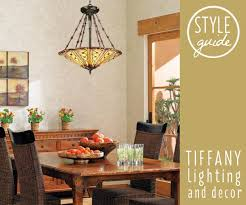 a tiffany style chandelier hangs above a dining room table