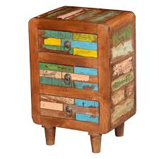 reclaimed wood multi colored bedside end table with  drawers