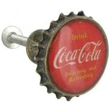 Add a nostalgia feel to cabinets, doors and drawers with this retro, Red &  Antique Brass Drink Coca-Cola Bottle Cap Pull. Measurements: x Knob Knob ...