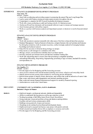 Finance Development Program Resume Samples Velvet Jobs