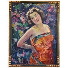 Tableau Art Deco femme au jardin fleuri - Vendu Art Nouveau, Art ...
