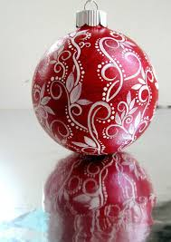 red and white ornament hand painted glass ornament