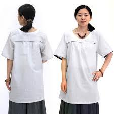 流行 阿波しじら織 チュニック レディース 角衿 半袖 無地ホワイト色