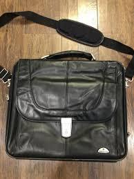 samsonite leather flapover briefcase black case bag holder travel laptop