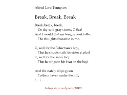 break break break by alfred lord tennyson hello poetry