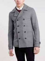 grey wool blend skinny pea coat