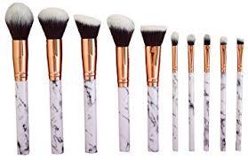 makeup brushes set. professional makeup brushes set 10pcs with white marble look brush handle