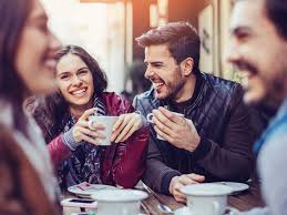 drinking coffee with friends. Delighful Friends In Drinking Coffee With Friends F
