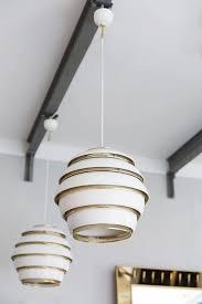 mid century modern set of four alvar aalto beehive ceiling lamps model no