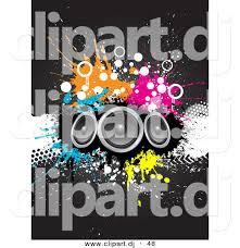 dj speakers clipart. cartoon clipart of a 3 big speakers over grunge splatters on black background dj f