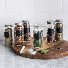 Ksp Chalkboard Glass Spice Jar Set Of 6 Clear Kitchen Stuff Plus
