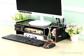 diy standing computer table stand adjule friendly wooden monitor riser 2 tier desktop organizer shelf holder