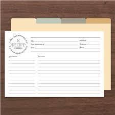 Printable Recipe Cards Pdf Instant Download Templates Basic Invite