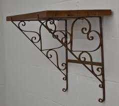 vintage pine and wrought iron shelf for